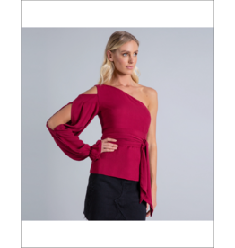 Lezalez One-Shoulder Waist Tie Blouse