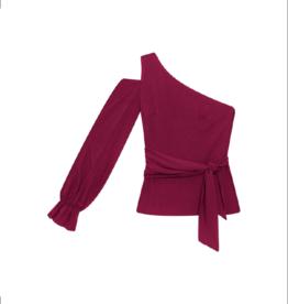 Lezalez One-Shoulder Waist Tie Blouse