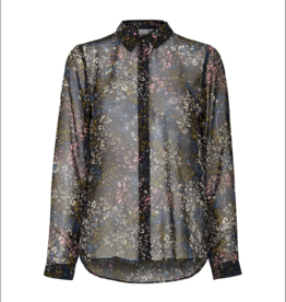 ICHI Sheer Button Up Blouse