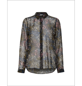 ICHI Sheer Button Up Blouse