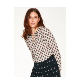 Thought Neck Detailed Printed Blouse