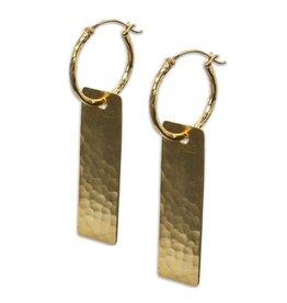 YaYa Hoop w/Hammered Rectangle Earrings