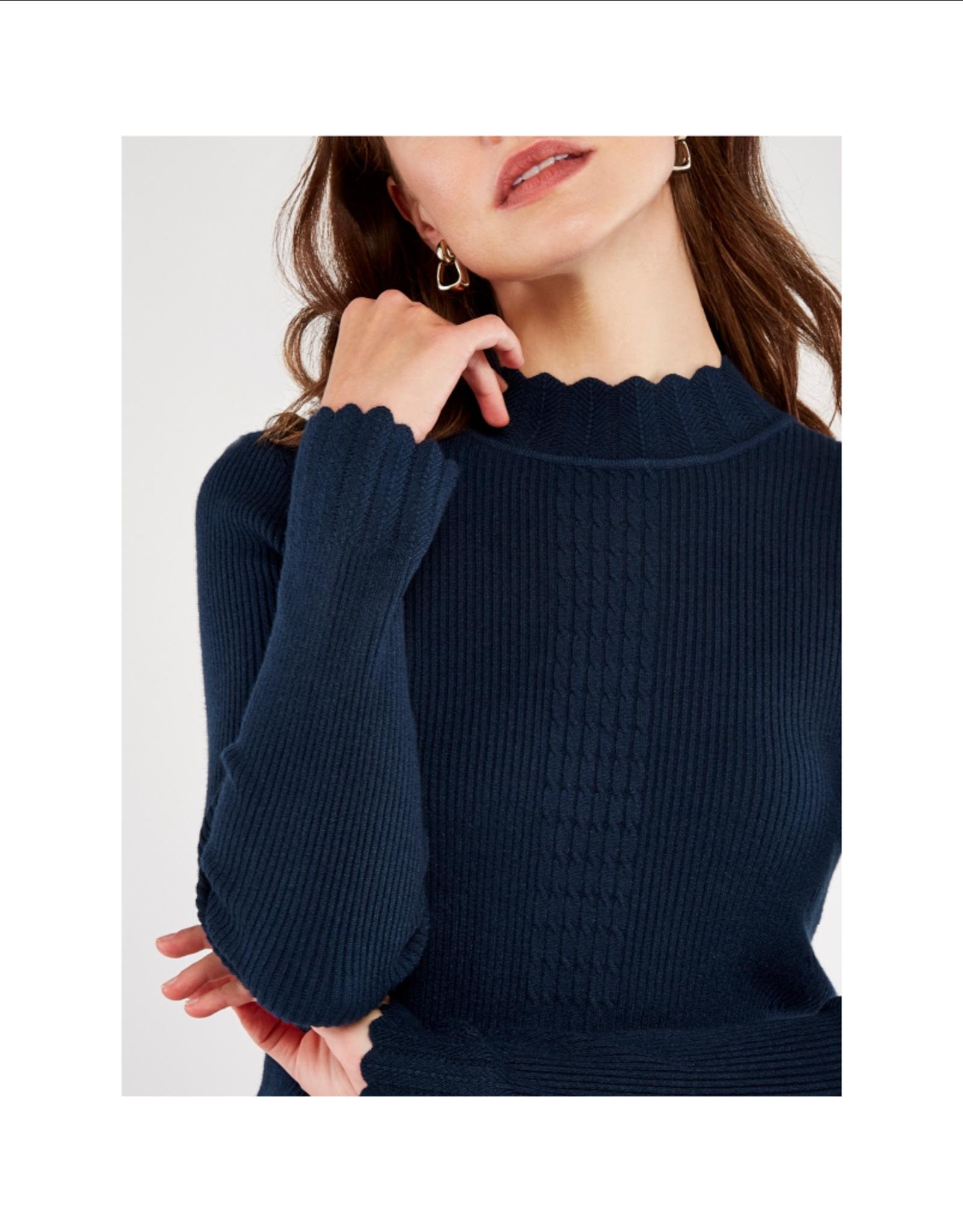 Apricot Apricot Scalloped Rib Sweater