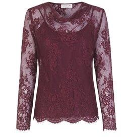 Rosemunde Lace Cowl Neck Blouse W/Tank
