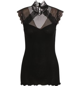 Rosemunde Pieced Sheer Back Mock Neck Top