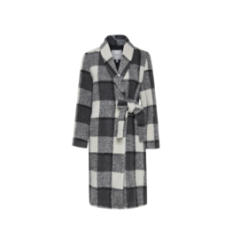 ICHI Wool Wrap Plaid Coat