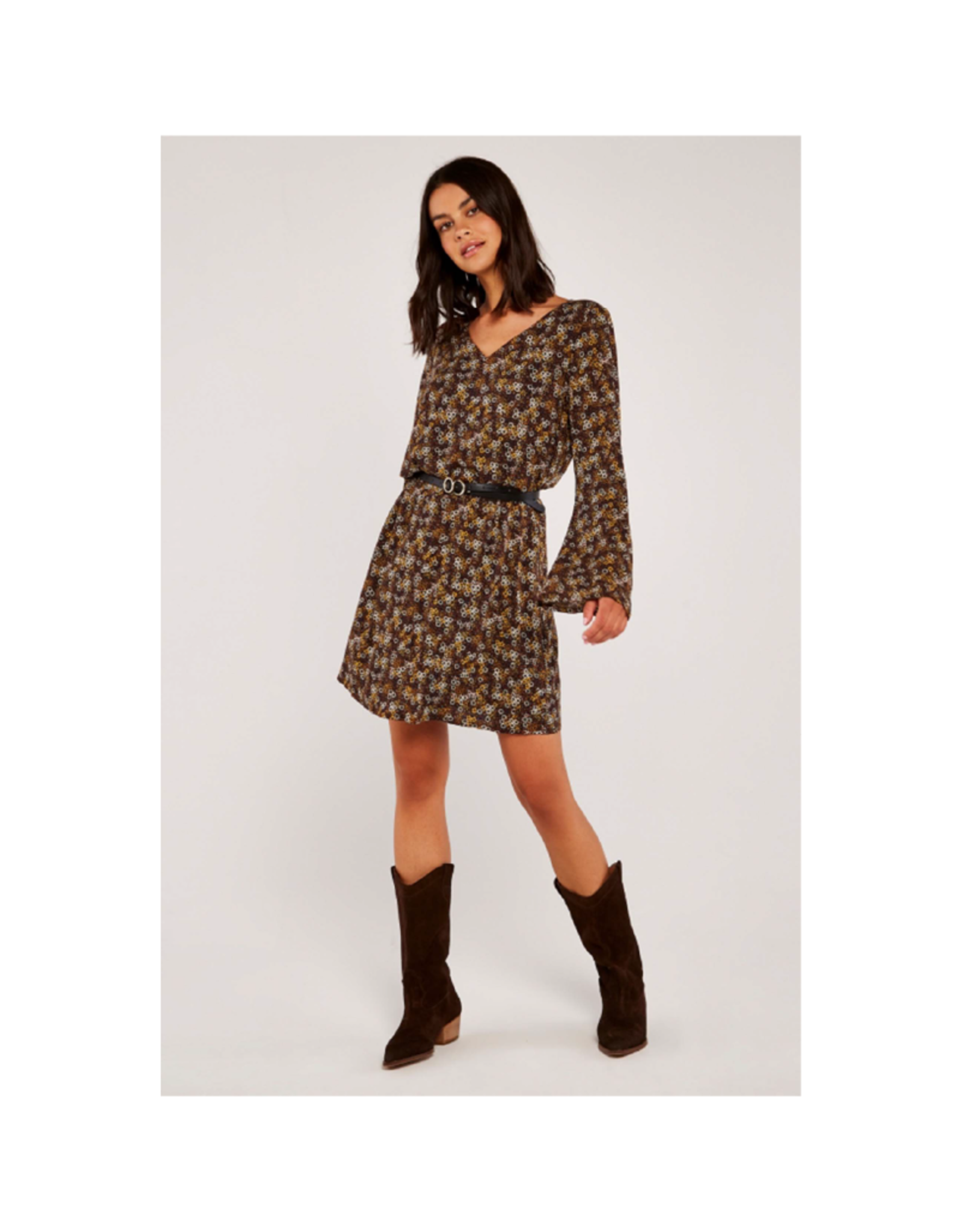 Apricot V-Neck Bell Sleeve Ditzy Print Dress