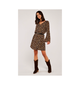 Apricot V-Neck Bell Sleeve Ditzy Print Dress