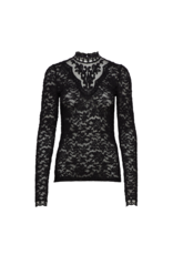 Rosemunde  Long-Sleeve Lace Mock Neck Top