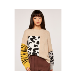 Apricot Animal Block Fuzzy Sweater