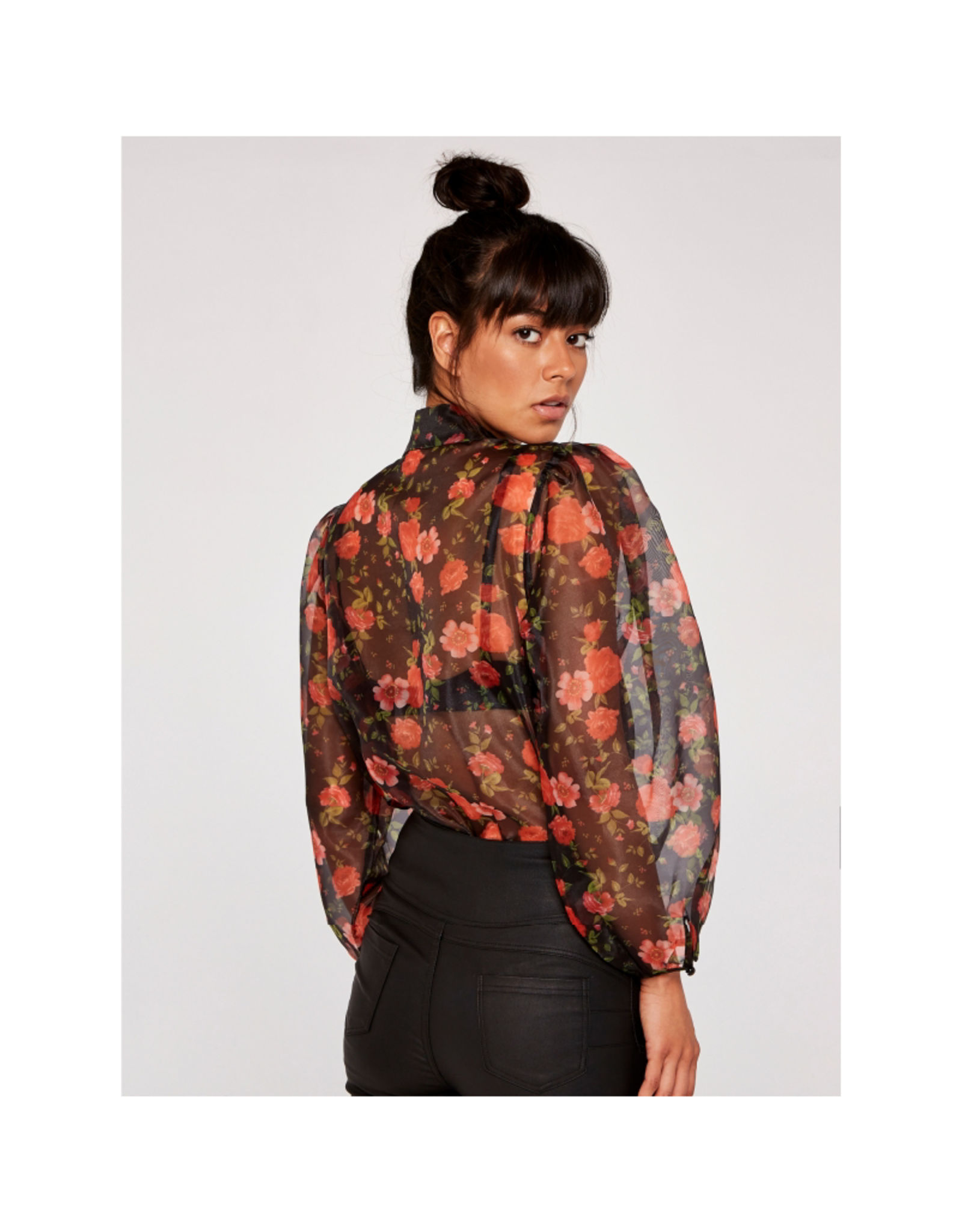 Apricot Rose Organza Puff Sleeve Top