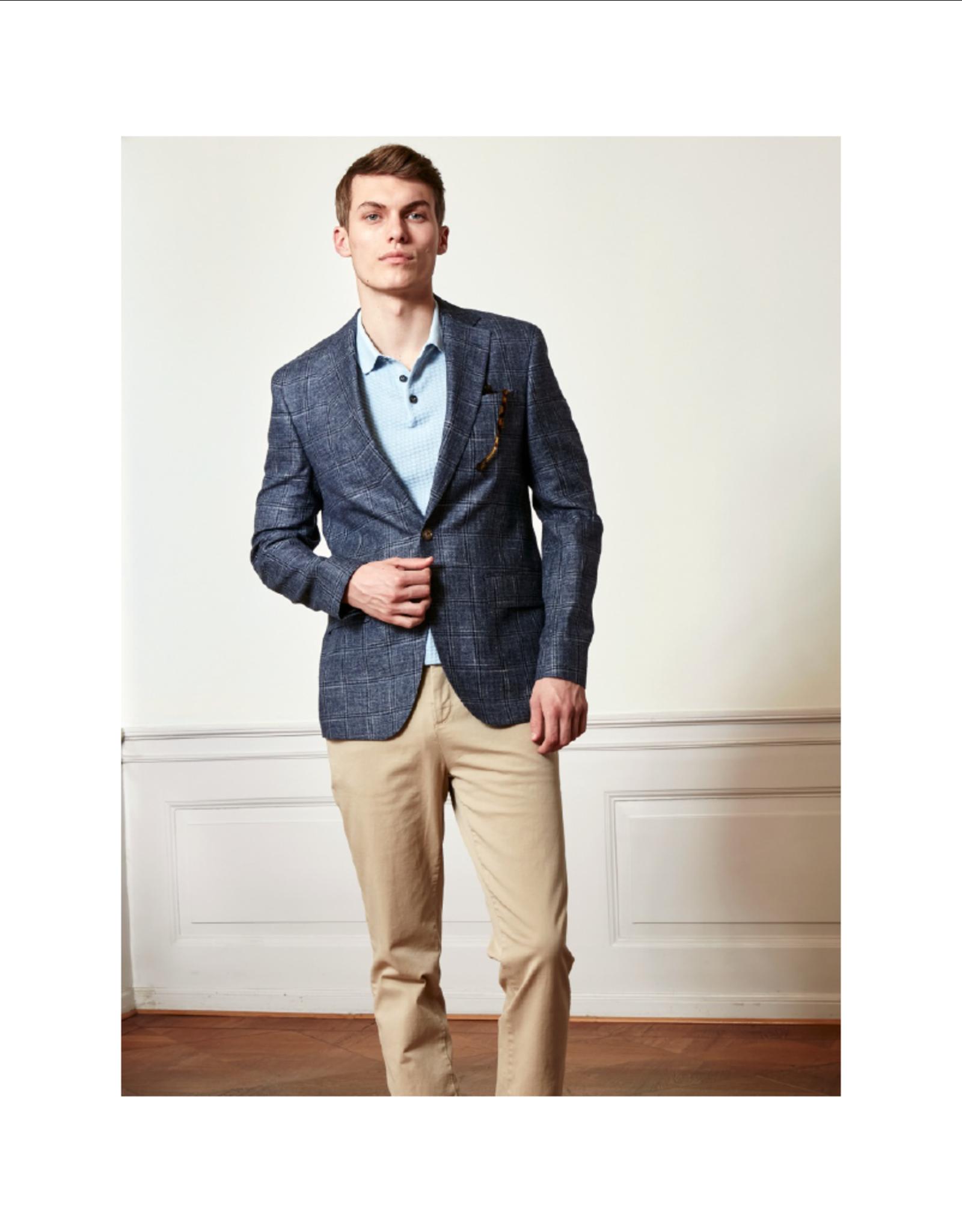 Sand Sherman Napoli Plaid Linen/Wool Blazer