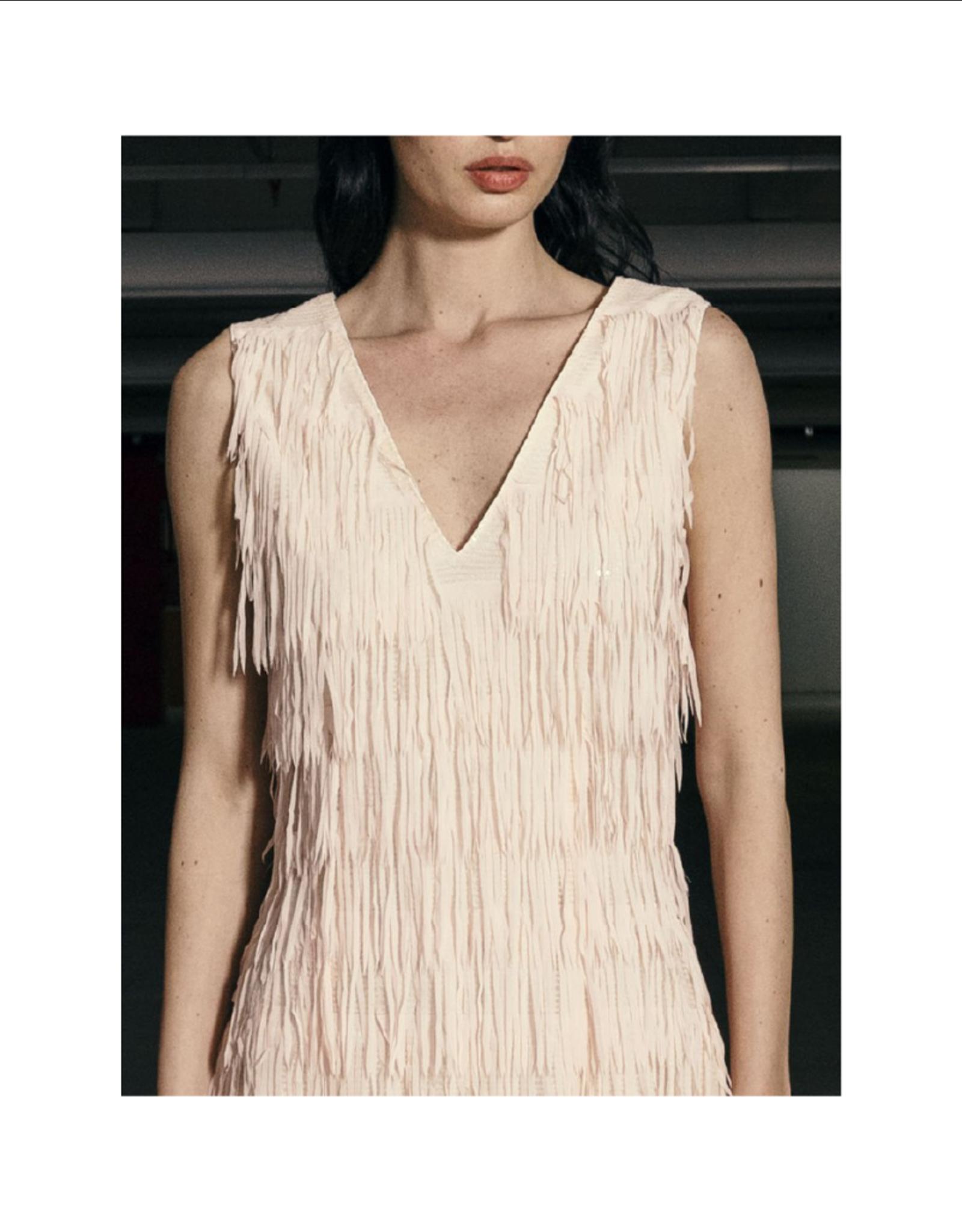 Anonyme Dundas V-Neck Feather Dress