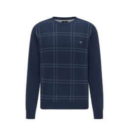 Fynch Hatton Roundneck Plaid Cotton Sweater