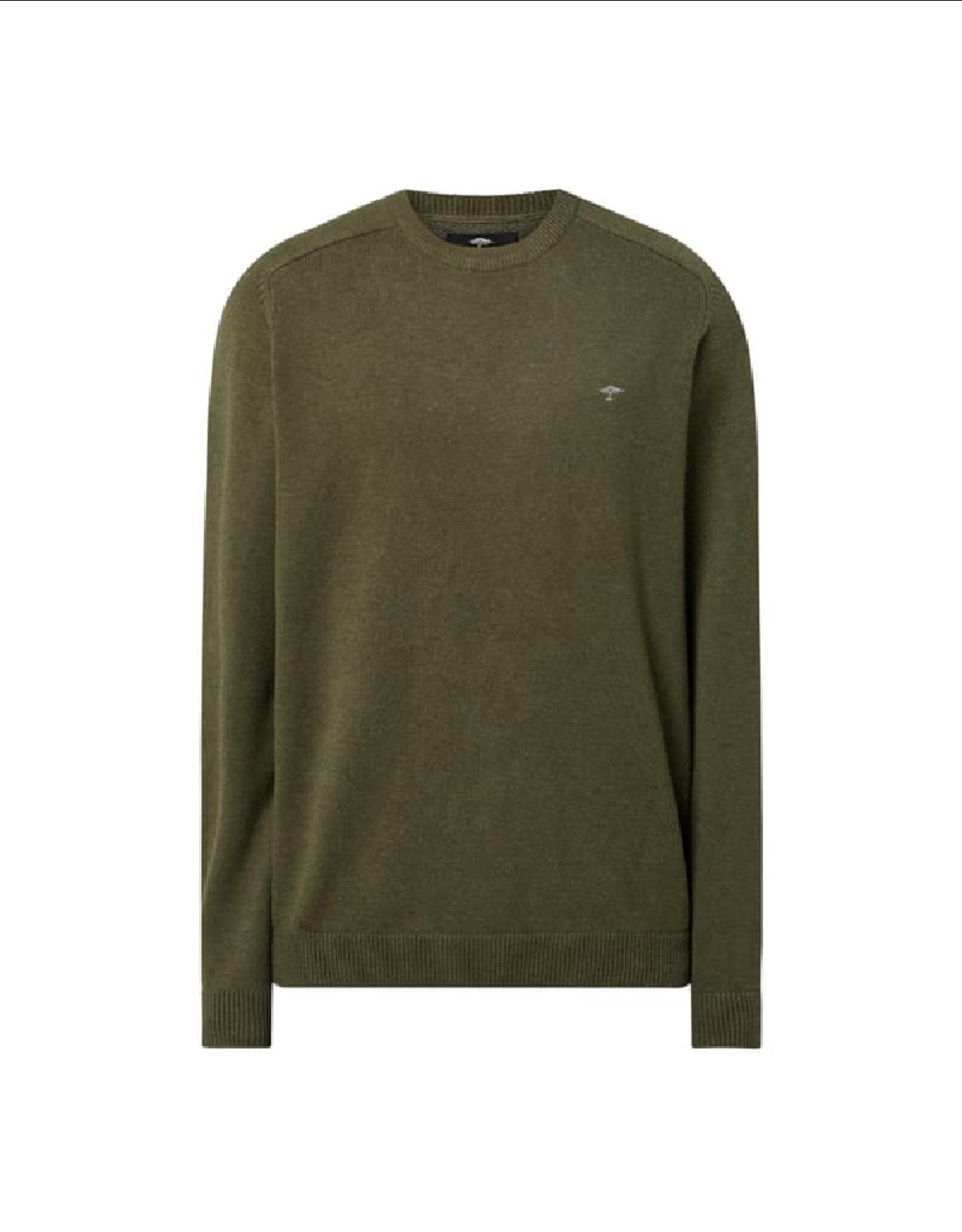 Fynch Hatton Roundneck Cotton Sweater Pesto