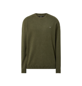 Fynch Hatton Roundneck Cotton Sweater Pesto