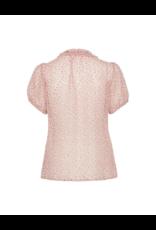 Cream Sheer Elastic Sleeve Blouse