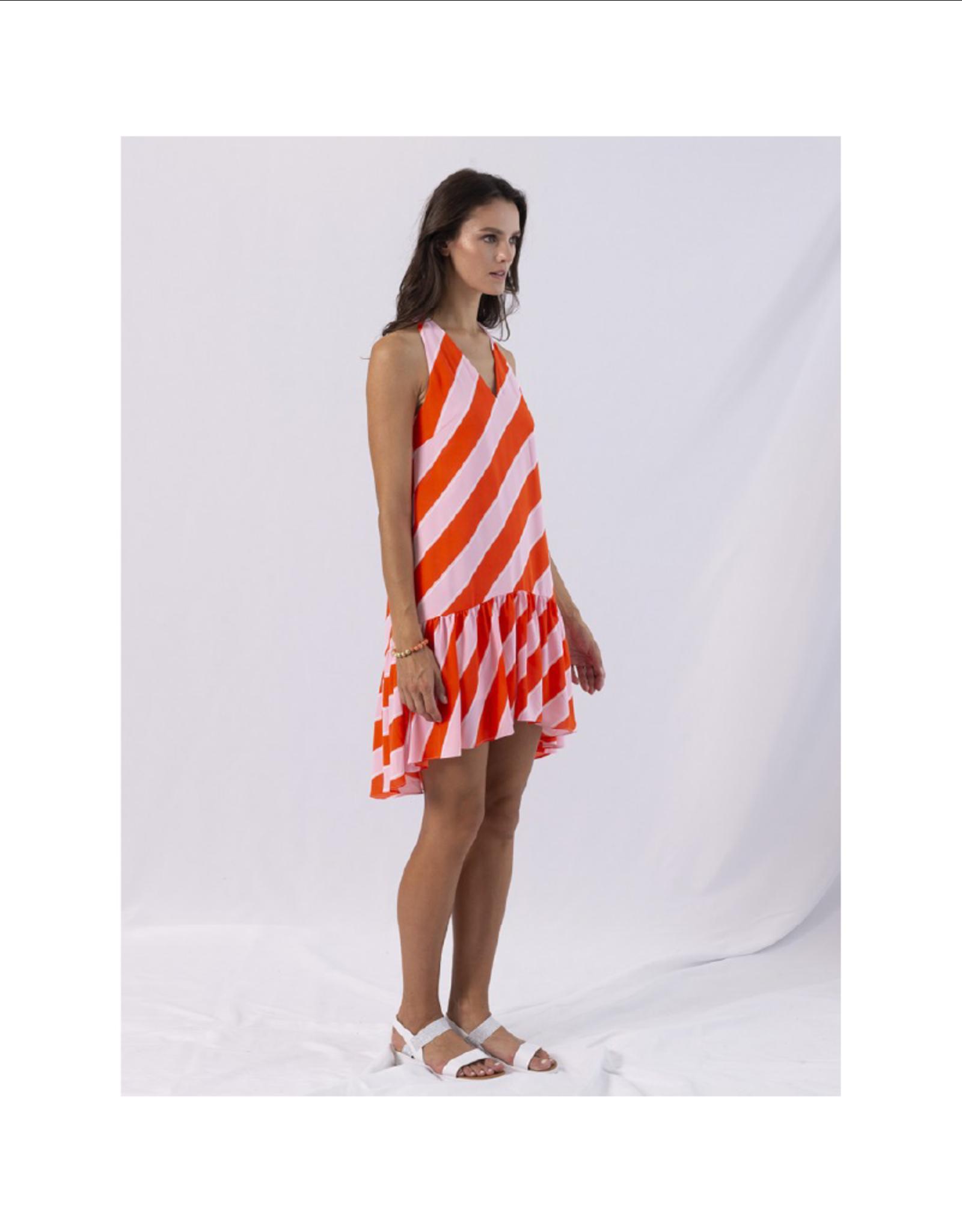 Anonyme Diletta Striped Ruffle Dress