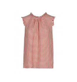 Anonyme Timea Polka Dot Ruffle Neck Top
