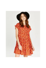 Apricot Floral Babydoll Ruffle Dress
