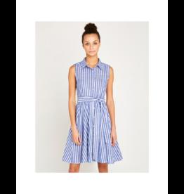 Apricot Waist Tie Collar Stripe Dress