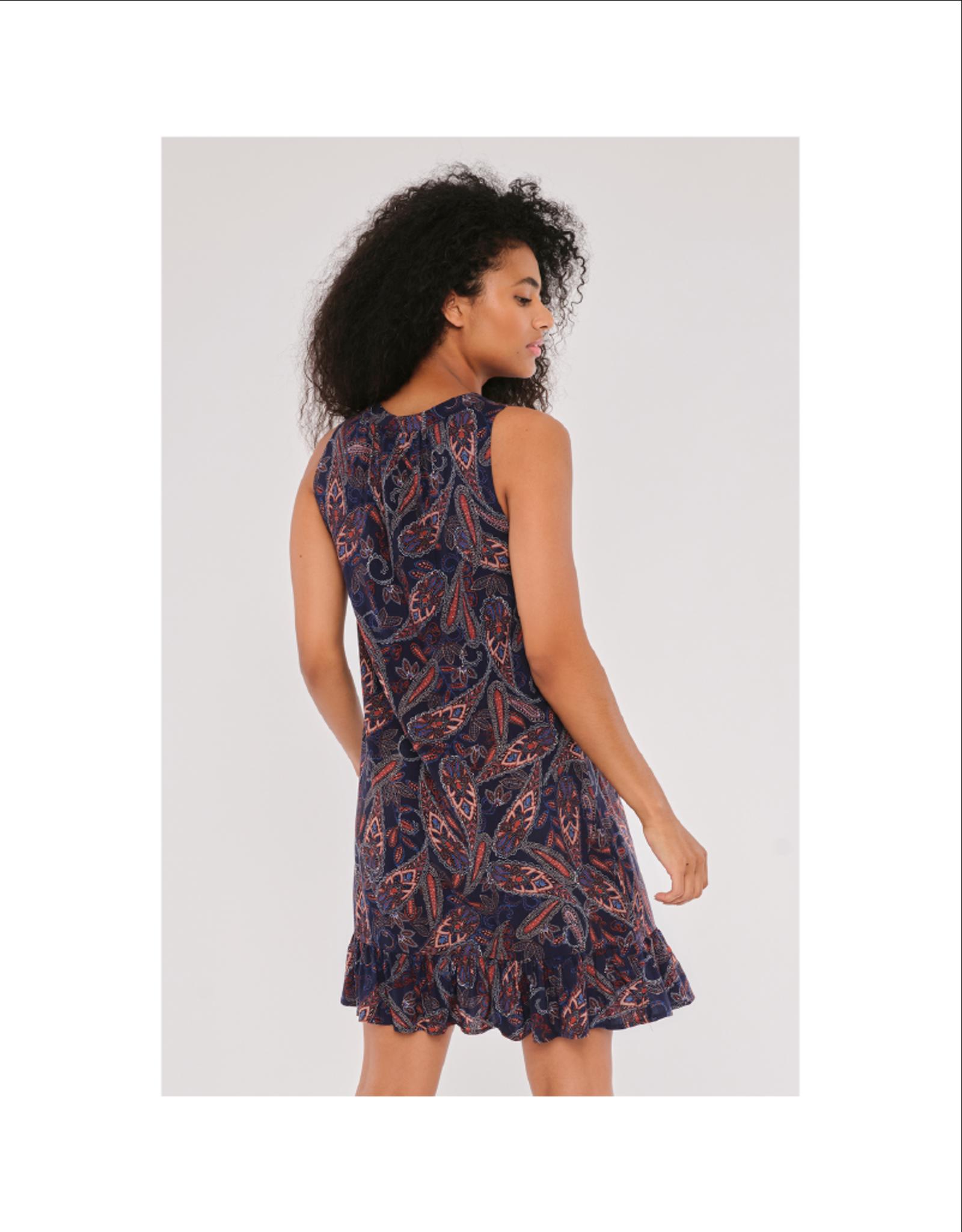 Apricot Paisley V-Neck Ruffle Dress