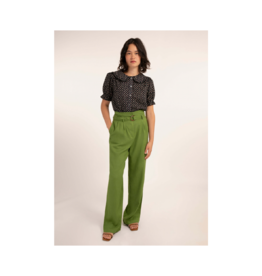 "FRNCH Perrette Belted Linen Pant (30"" Inseam)"