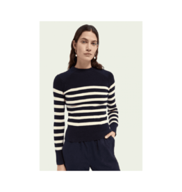 Maison Scotch Mockneck Stripe Sweater