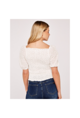 Apricot Smocked Crop Blouse
