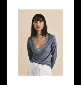 Line Modal Cashmere V-Neck Glazed Sweater
