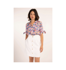 FRNCH Celita Sleeve Tie S/S Blouse