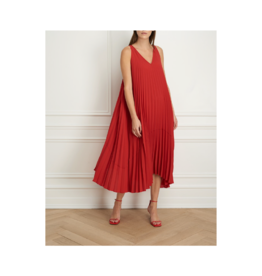 Iris Pleated V-Neck Dress