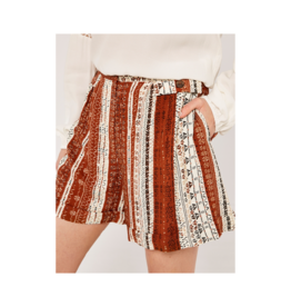 Apricot Brown Button Printed Short Rust