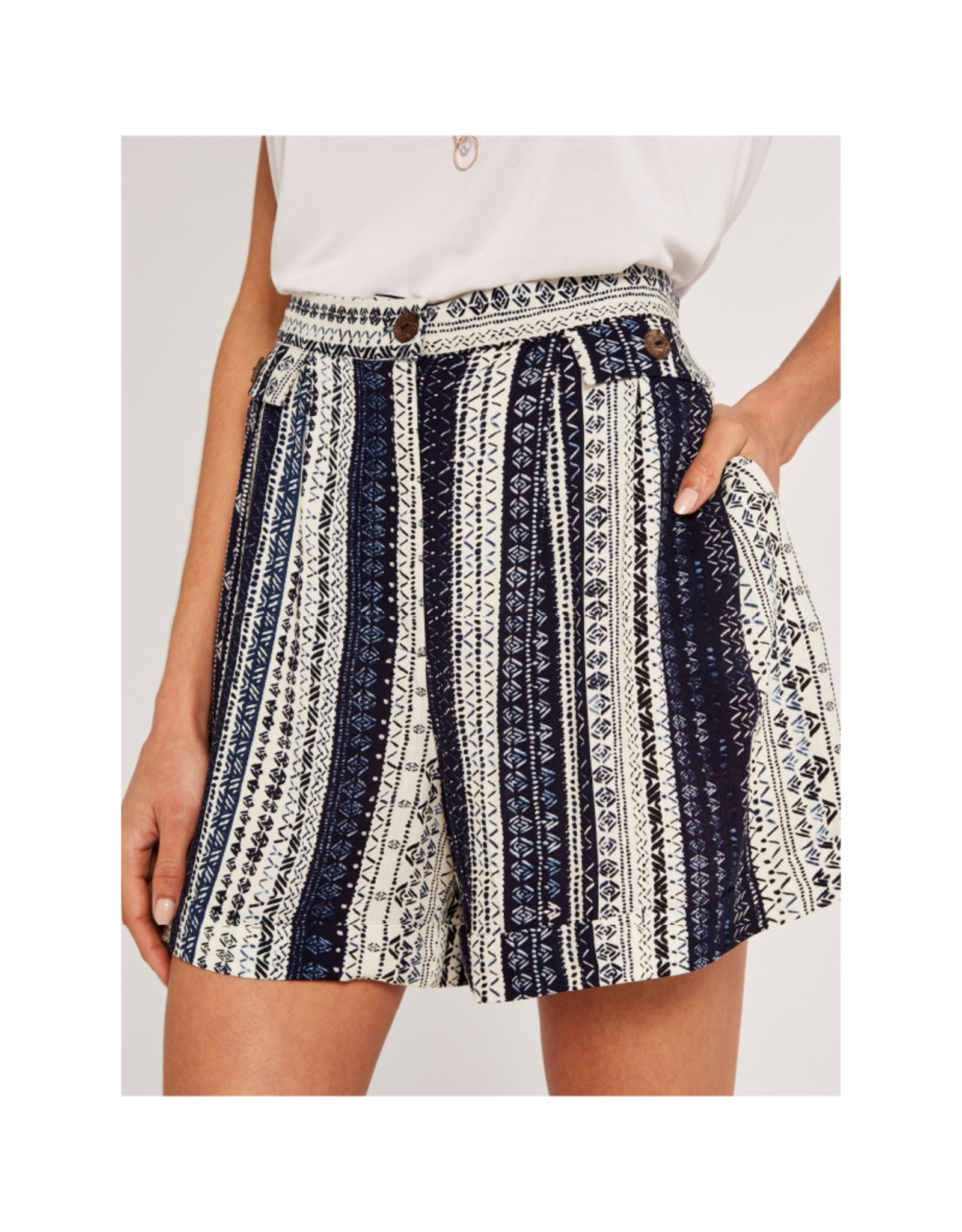Apricot Brown Button Printed Short