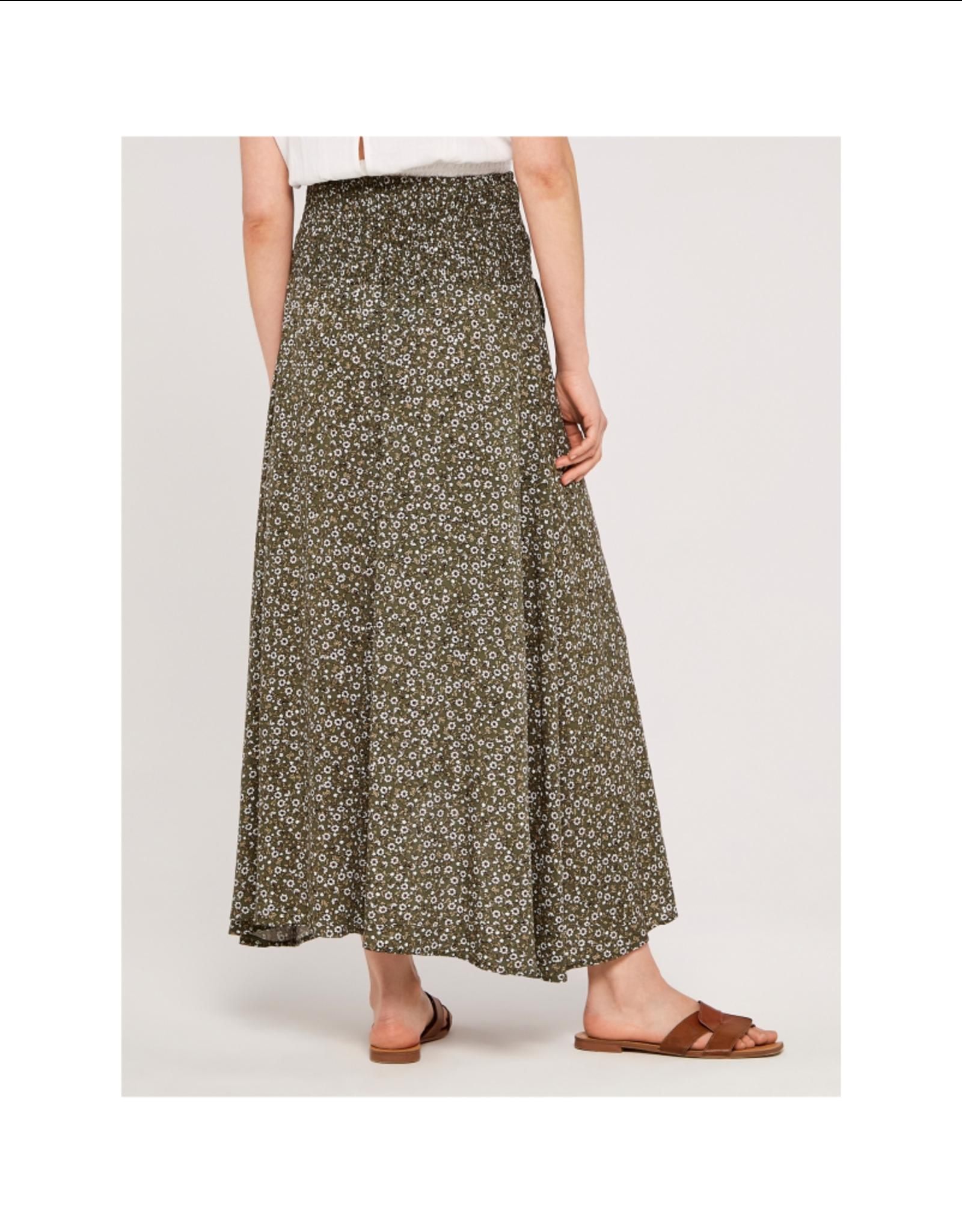 Apricot Smocked Waist Wrap Skirt