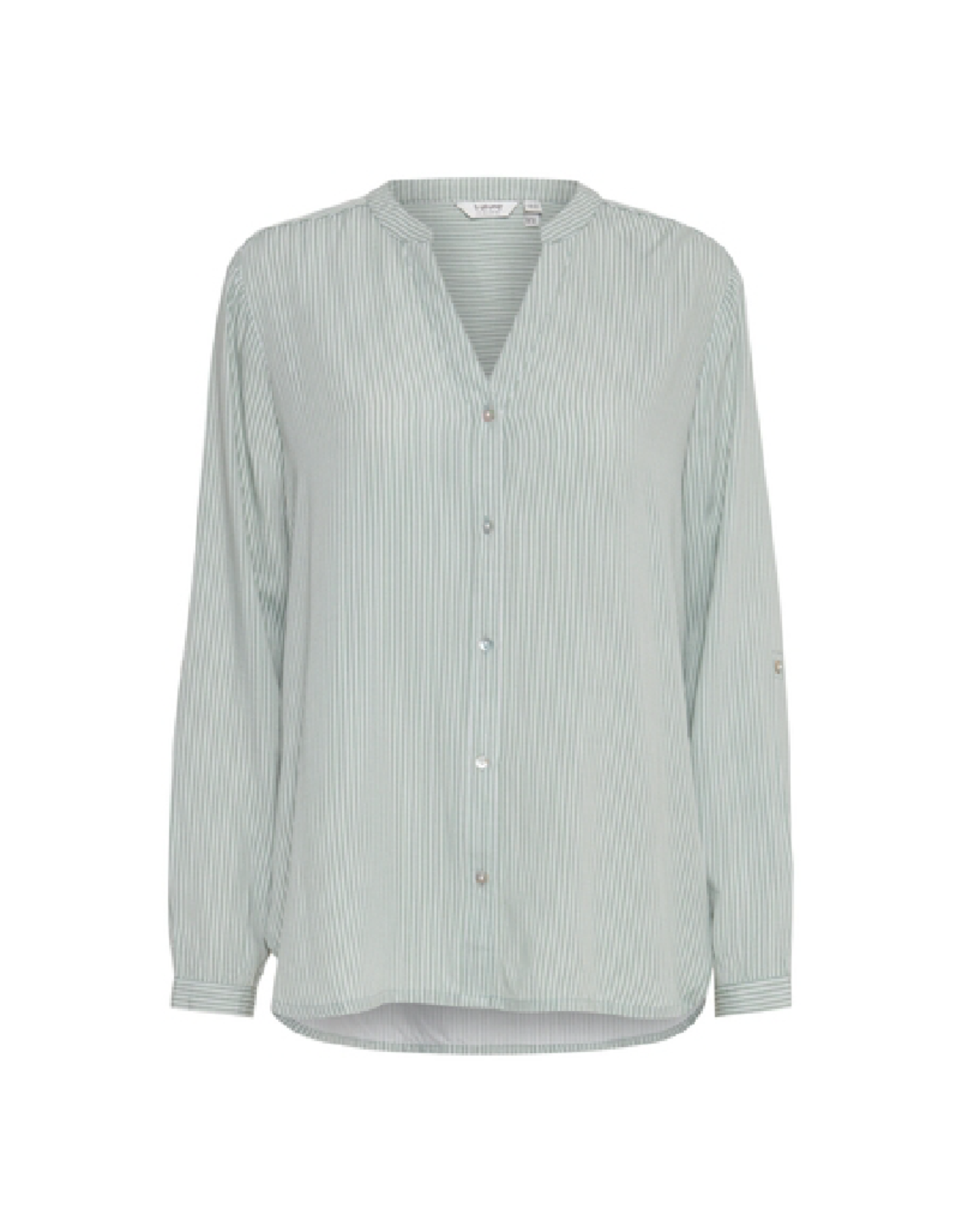 B. Young Viscose Button Up Stripe Blouse