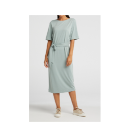 YaYa Crewneck Front Tie Midi Dress