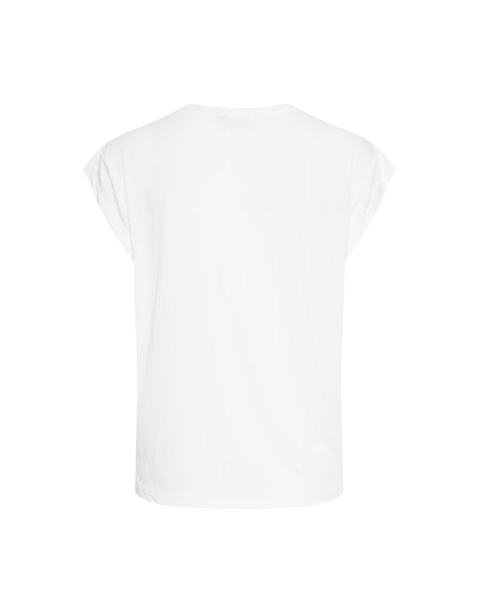 ICHI Cap Sleeve Shoulder Pleat Top