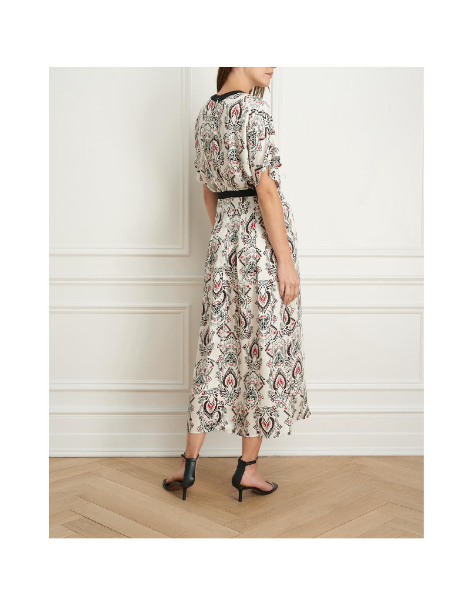 Iris V-Neck Printed Slit Dress