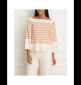 Iris Striped Boatneck Viscose Rib Sweater