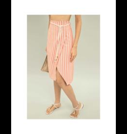 Lezalez Cotton Striped Midi Skirt