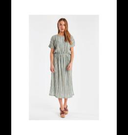 ICHI Unique Striped Midi Dress