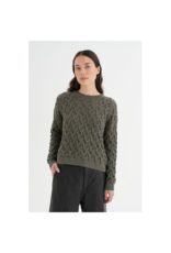 Inwear Loose Crop Cotton Cable Sweater