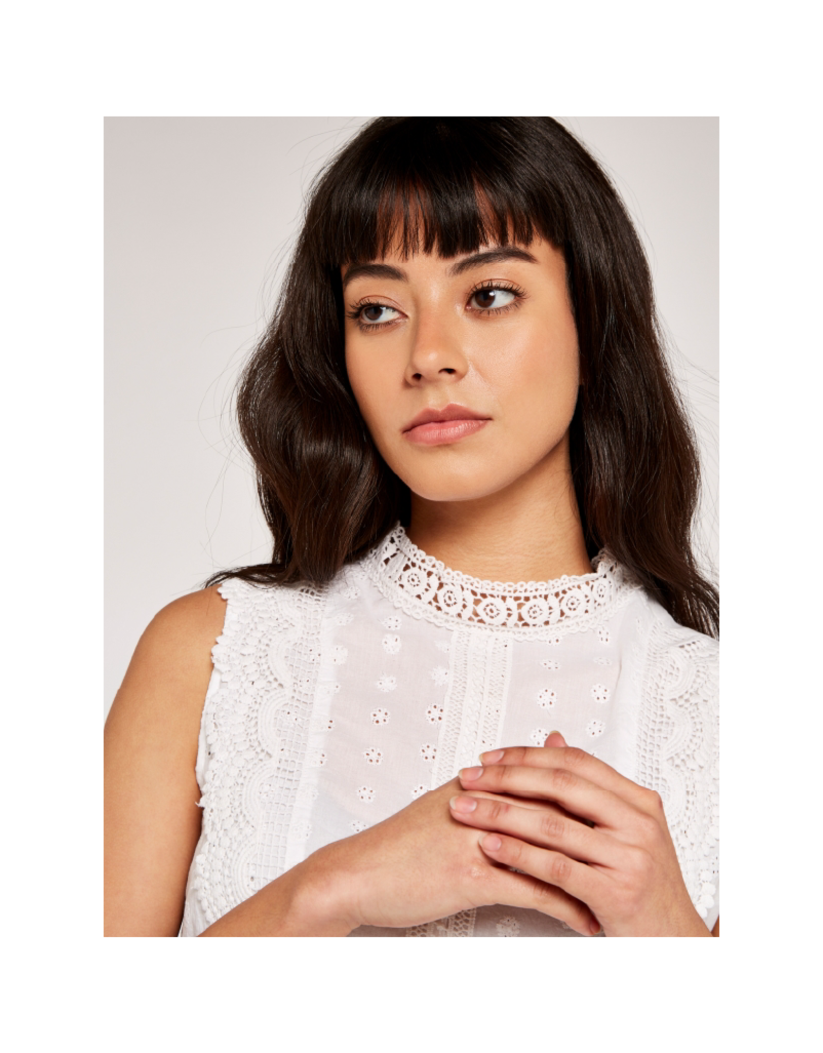 Apricot Broderie Anglais High Neck Top