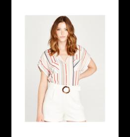 Apricot Dotted Stripe Back Pleat Shirt