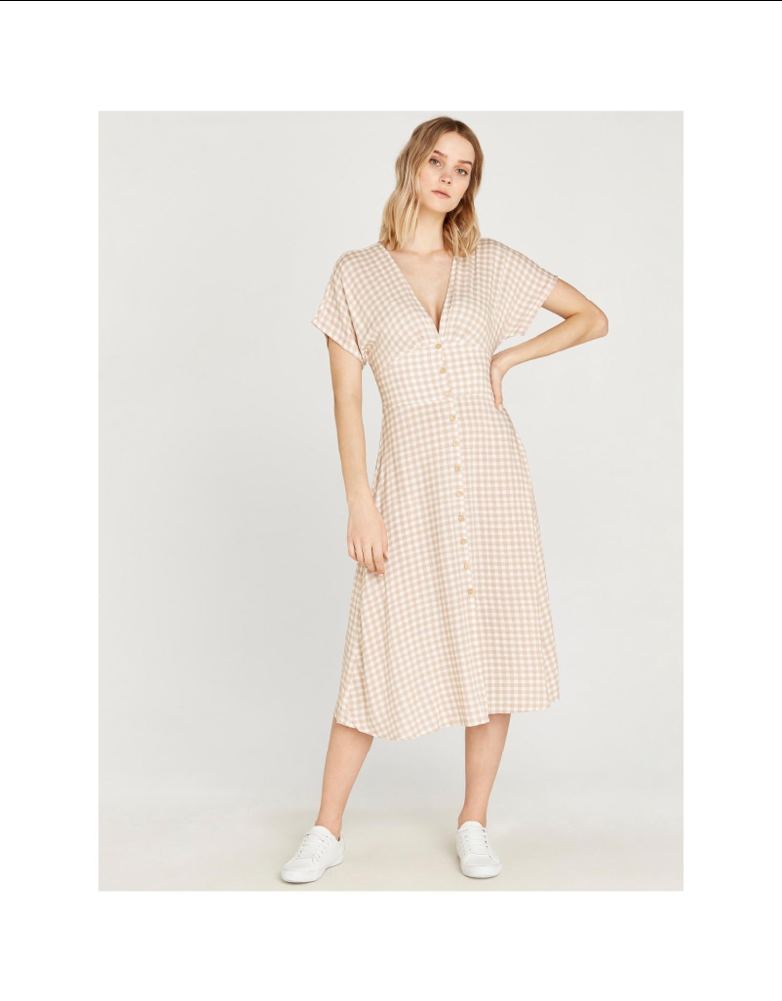 Apricot Gingham Button Through Midi Dress