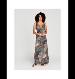 Apricot Tribal Feather Maxi Dress