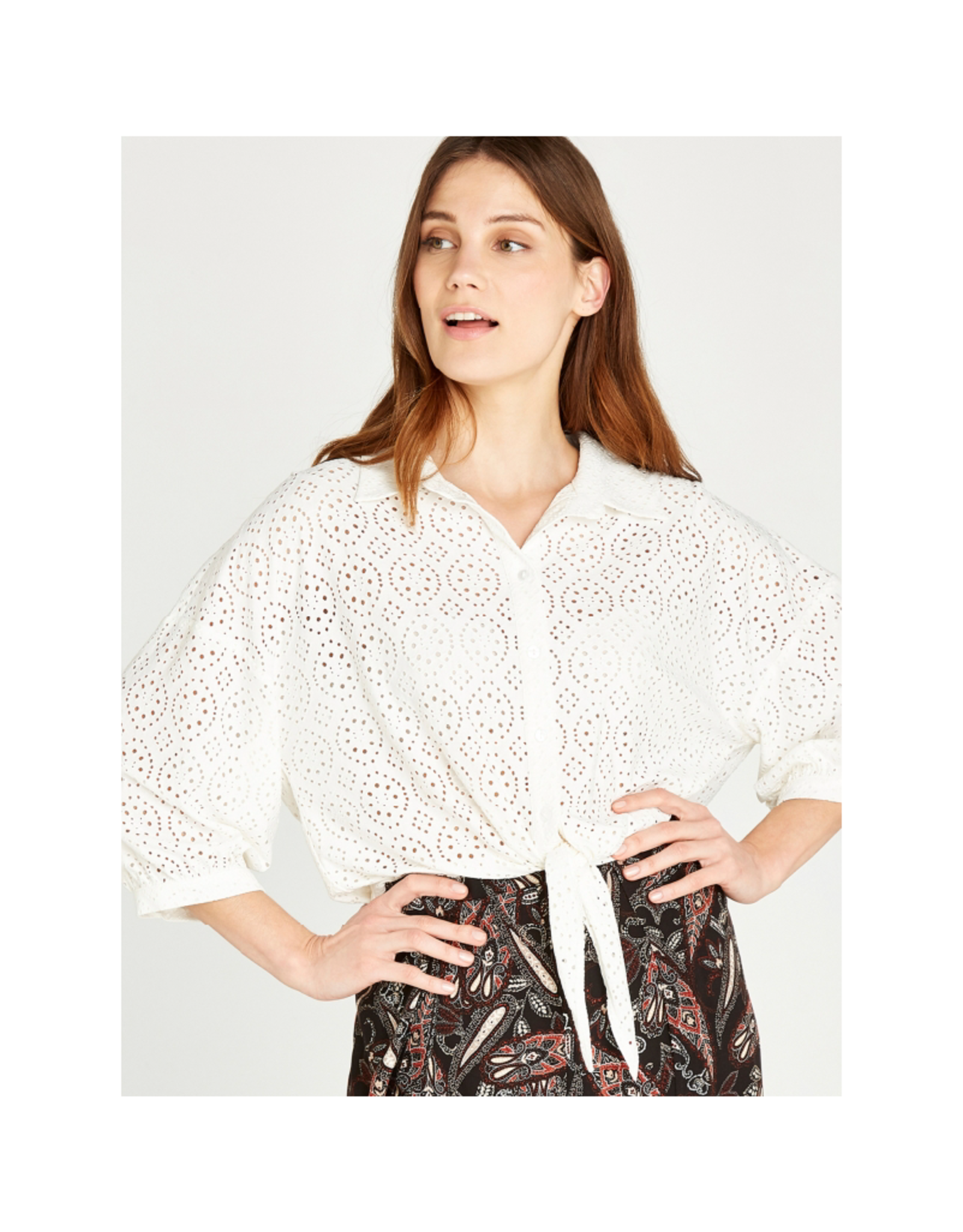 Apricot Broderie Anglaise Front Top