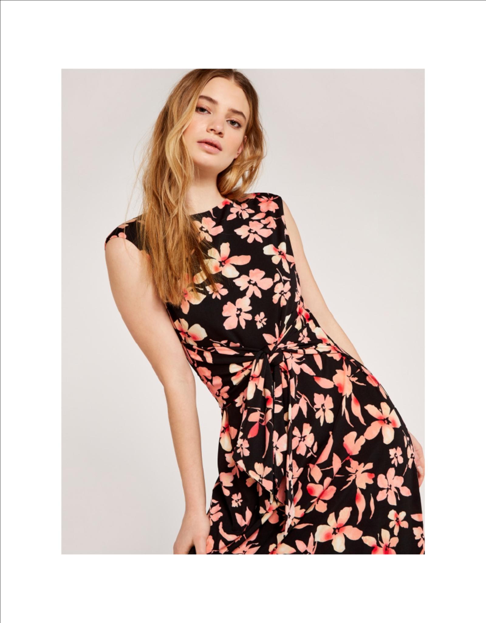 Apricot Waist Tie Floral Maxi Dress