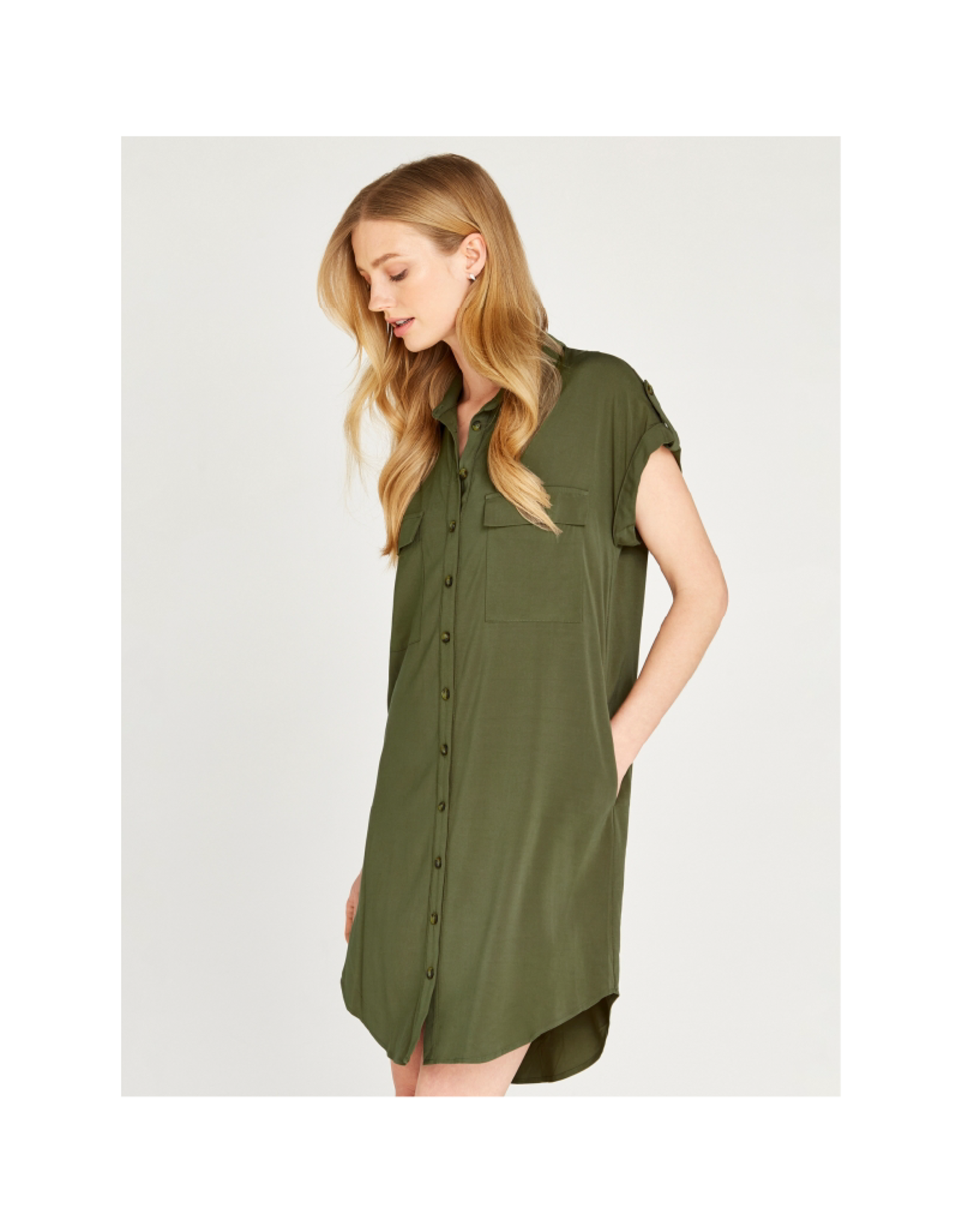 Apricot Utility Shirt Pocket Dress